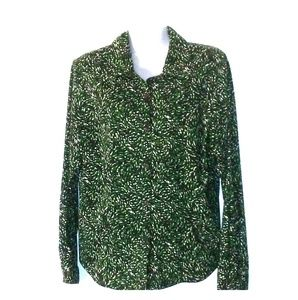 Kim Rogers Essentials Petite Green Abstract Blouse